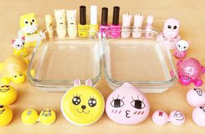 把黄色和粉色过期化妆品混在无硼砂水晶泥里,你更喜欢哪一种?
