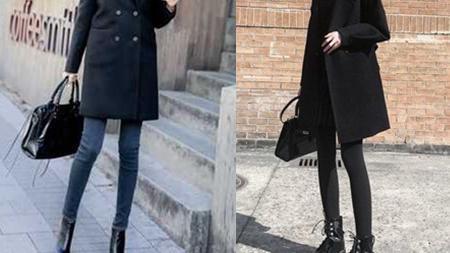黑色长款尼大衣配什么样的裤子和鞋子好