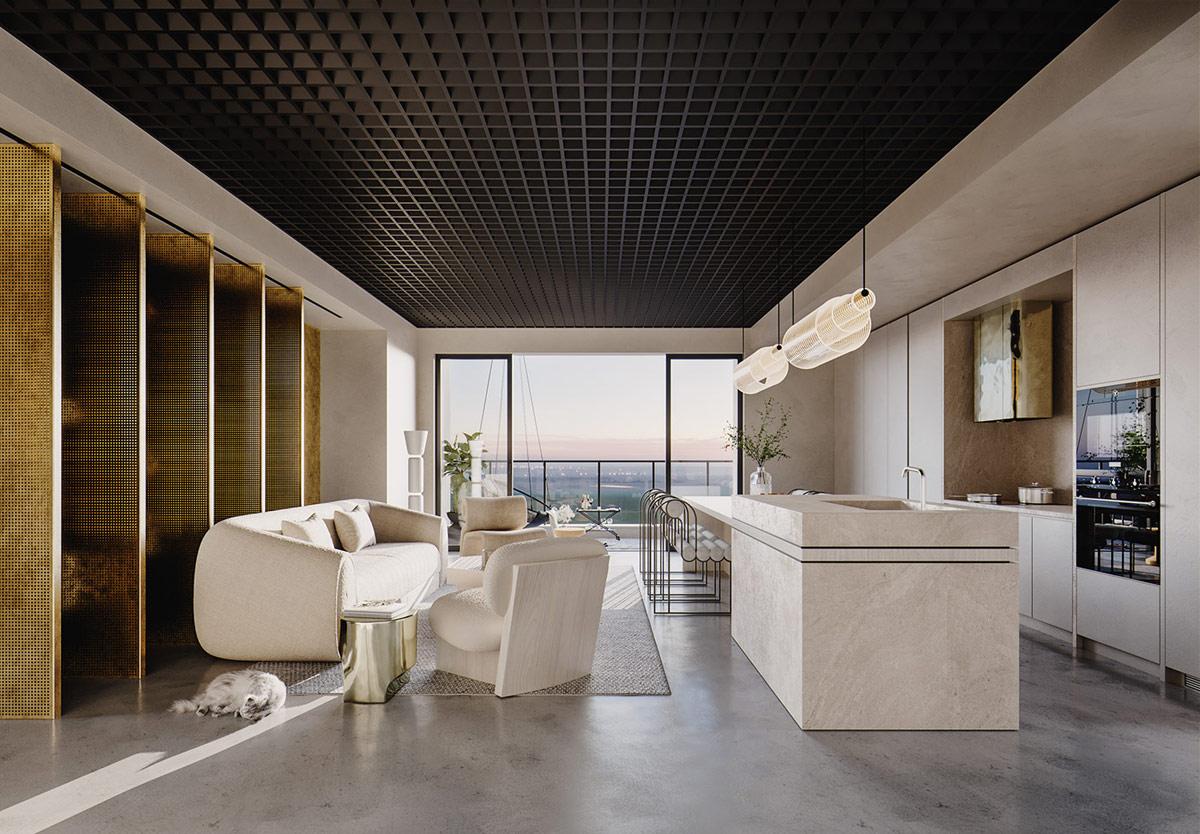 时尚豪华的中性家居装饰,融合现代东方元素,冰冷而奢华