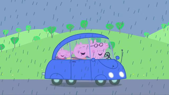 「陪孩子看动画片」小猪佩奇第23集《新车》