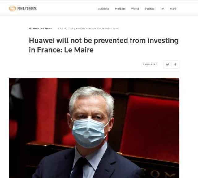 一个好消息,法国表态:允许华为在法投资5G,美国还是棋差一招