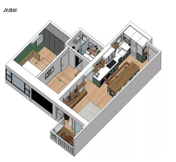 中年夫妻的50㎡两居室,中岛厨房收纳功能实用又美观,网友:佩服