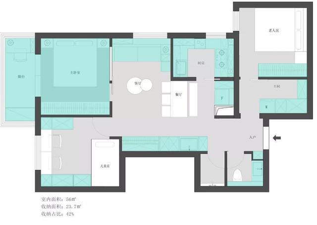 56㎡硬核改造,三房一厅住下一家六口,收纳功能不输大户型
