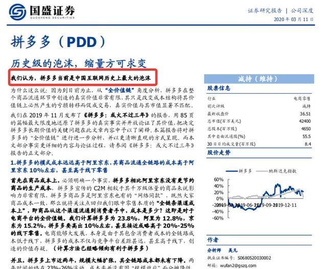 """华尔街大师:股价将暴跌62%?国盛称拼多多是""""史上最大泡沫"""""""