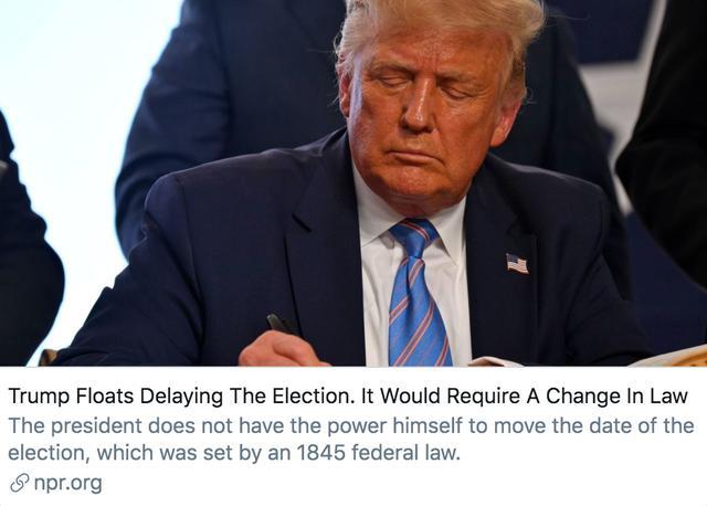 特朗普建议推迟大选,究竟有多大可能?