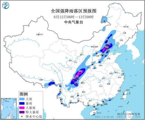 京津冀四川等地局地有大暴雨 全国强降雨预报图