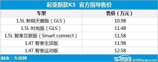 東風悅達起亞新款K3上市 售價10.98萬元起