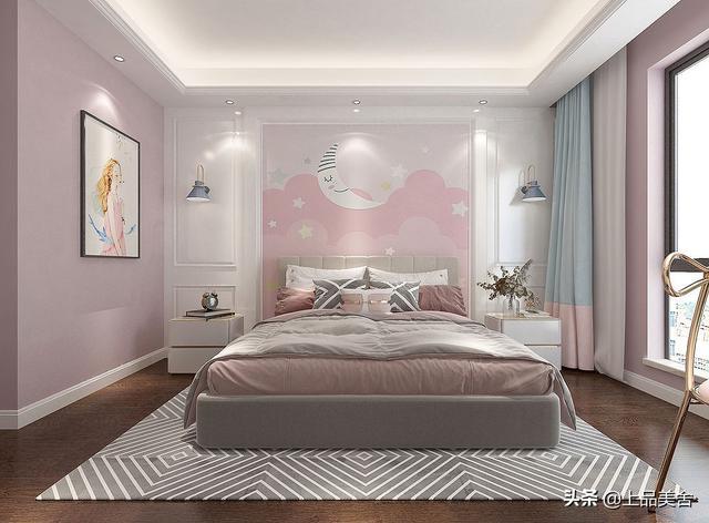 145平米现代风格,儿童房粉粉嫩嫩的鲜艳色彩,让卧室更有童趣