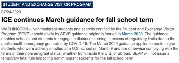 移民局新规:如果课程完全线上学习 美国境外留学生不被允许入境