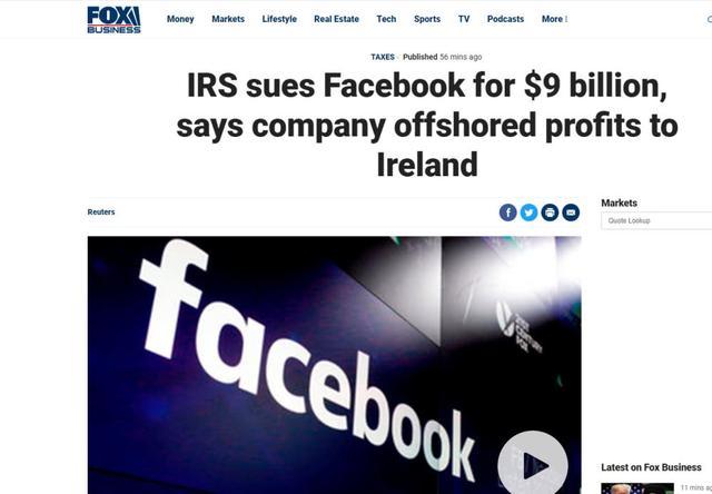 全球财媒头条:美国国税局起诉Facebook,索赔90亿美元