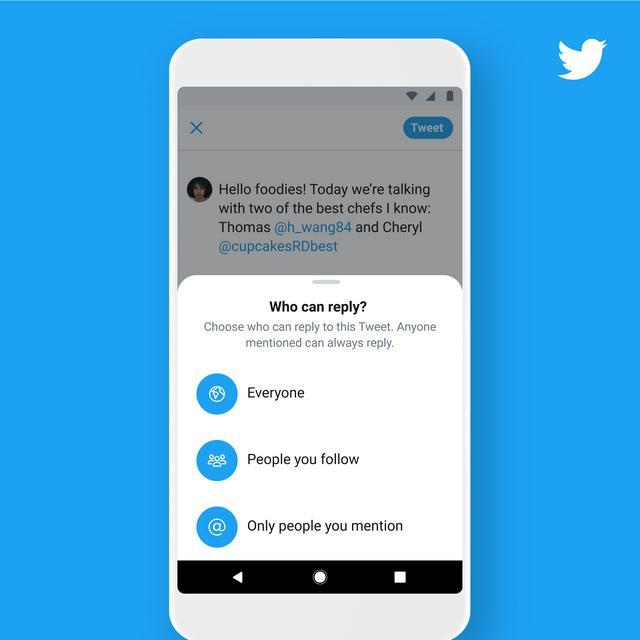 推特网用户将可以限制哪些人能回复推文