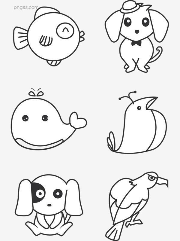 可爱各类动物简笔画PNG搜索网 精选免抠素材 透明PNG图片分享下载 pngss.com