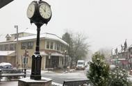 美国东部小镇街景,开始下雪啦