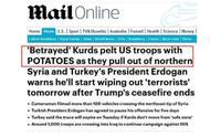 美军从叙利亚撤离时,被人用土豆猛砸