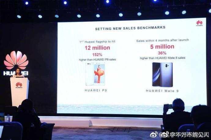 余承东牛:华为公司P9销售量过1200万部,Mate9过五百万部