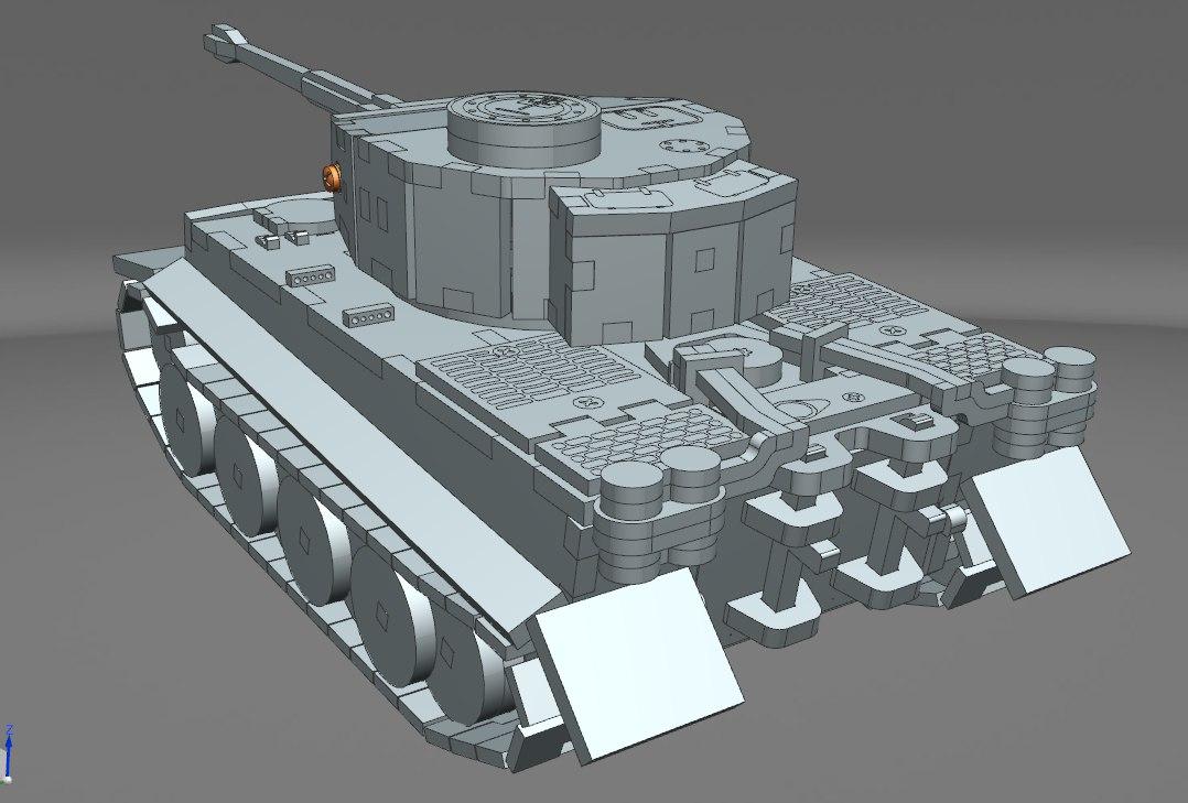 虎式VI重型坦克立体拼装激光雕刻图纸 dwg格式 附三维格式