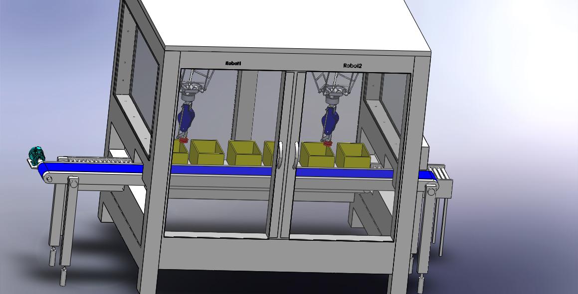 奶酪厂包装机器人设备3D数模图纸 SOLIDWORKS设计