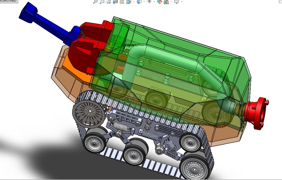 隧道消防履带机器人底盘3D建模图纸 SOLIDWORKS设计