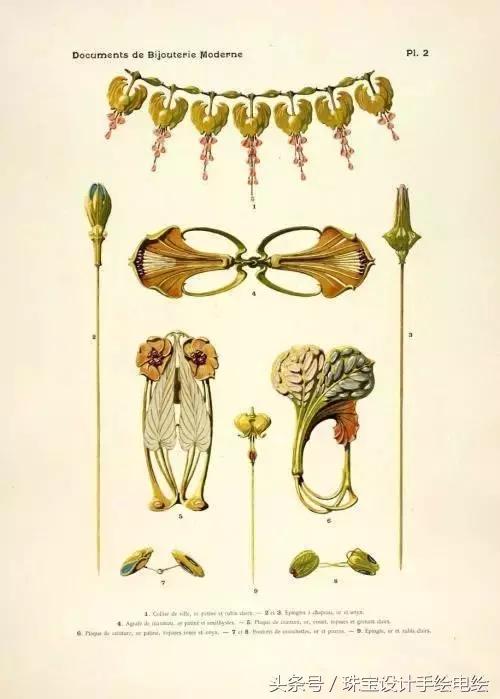百多年前的珠宝设计手绘稿曝光