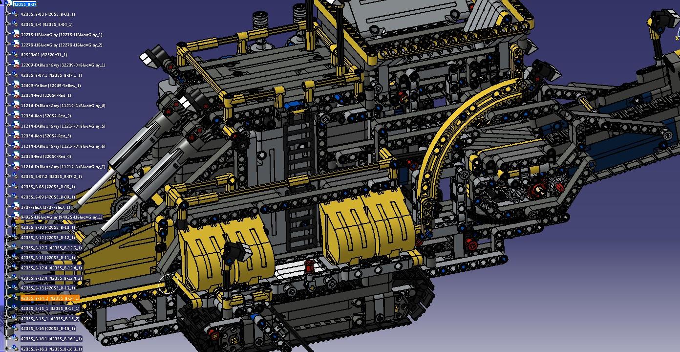 lego 42055 B履带式工程车模型3D图纸 STP格式