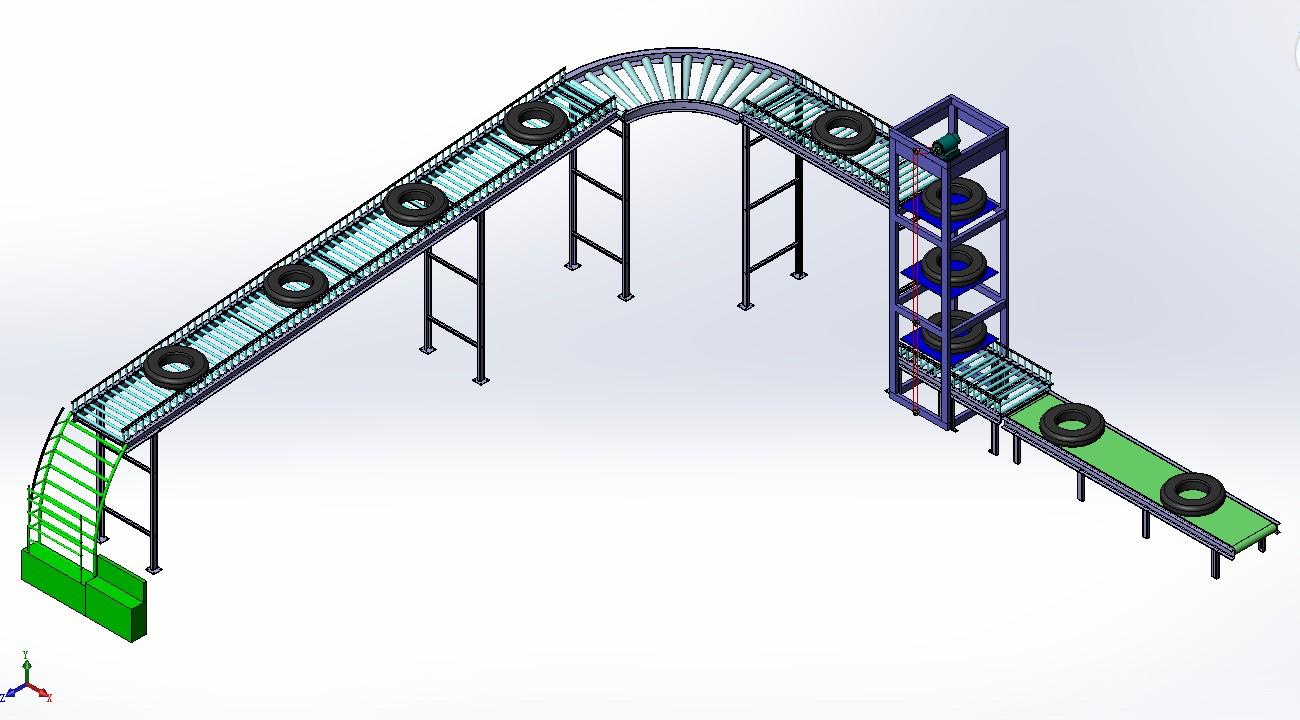 物件装配传输线3D数模图纸 Solidworks设计