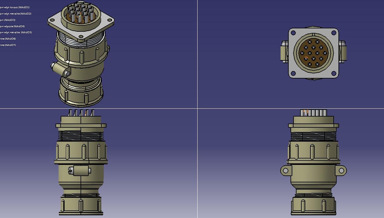 14针设备连接器3D模型图纸 STEP格式