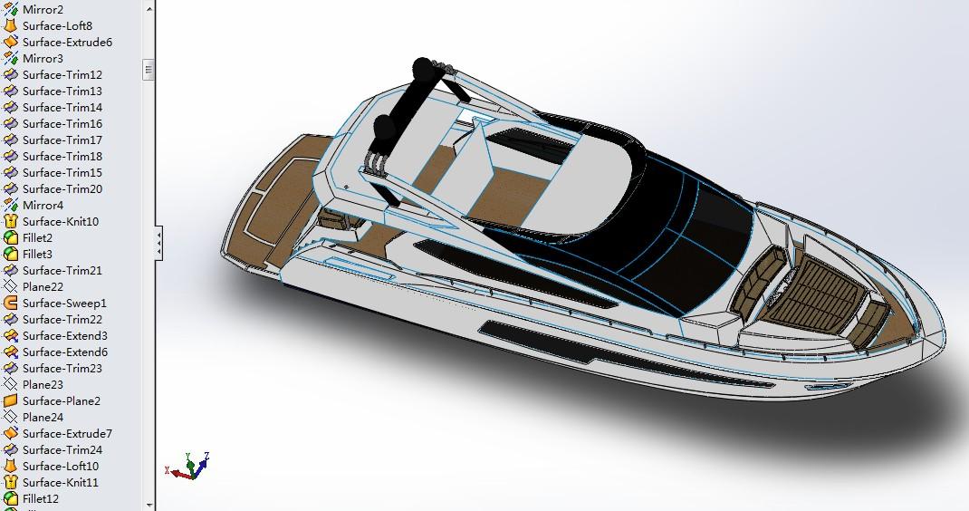 75英尺Sunseeker游艇3D图纸 SOLIDWORKS2015设计 船舶三维建模