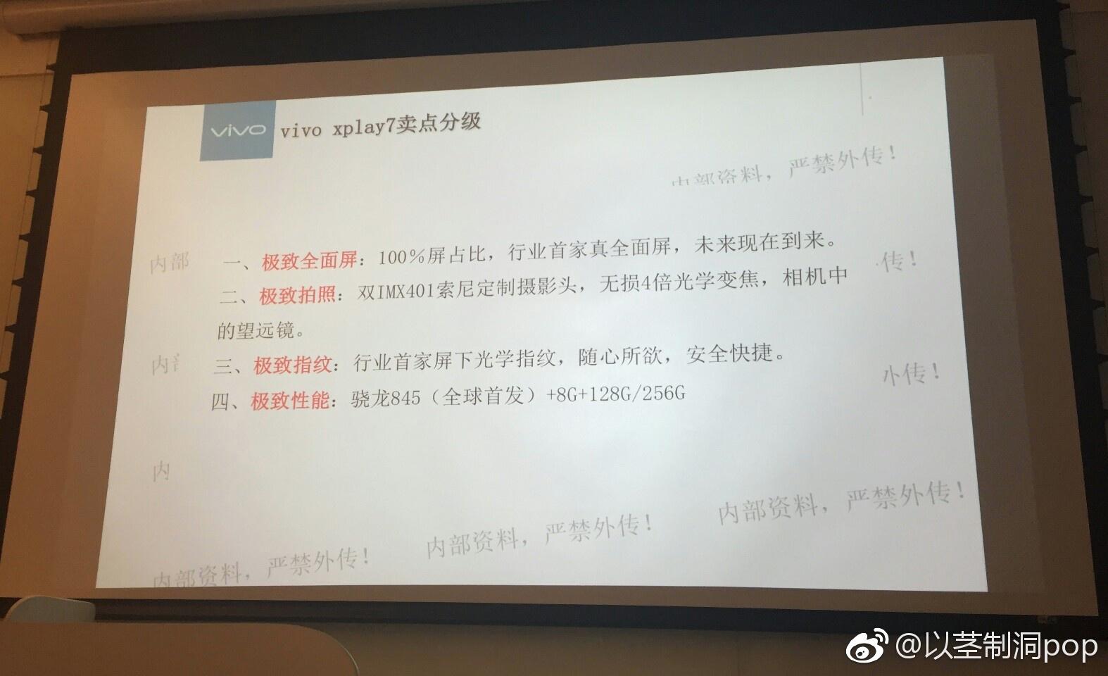 骁龙845 100%屏幕比例 屏下指纹,vivo Xplay7主要参数全世界首曝
