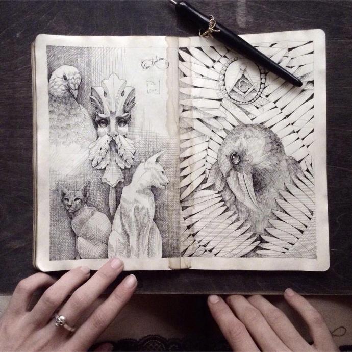 设计-珠宝设计师/插画师 Elena Limkina 的手绘笔记