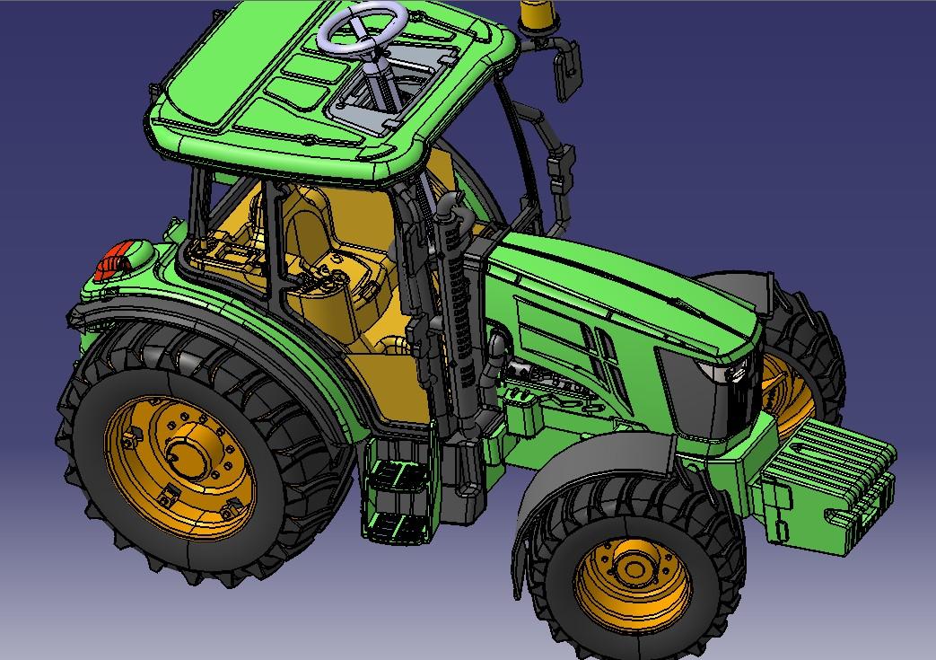 John Deer拖拉机玩具模型3D图纸 STP格式