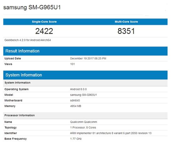 驍龍845強悍助功?三星S9 亮相GeekBench網址:顯卡跑分爆棚