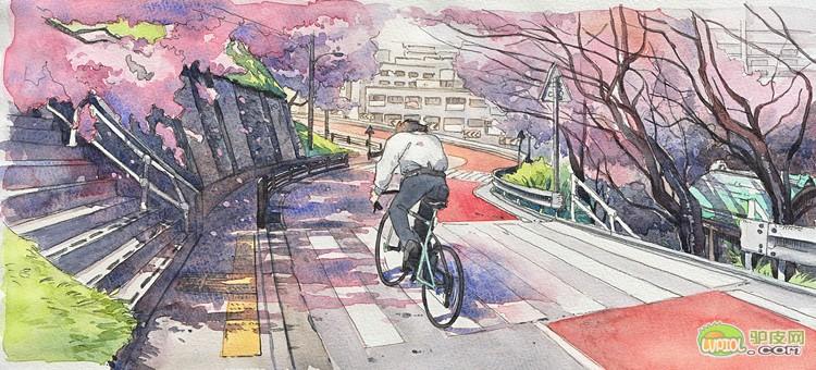手绘宫崎骏动漫里的单车少年