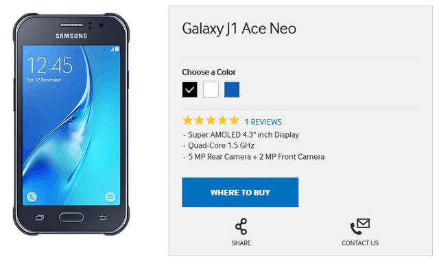三星公布新手机J1 Ace Neo 配备