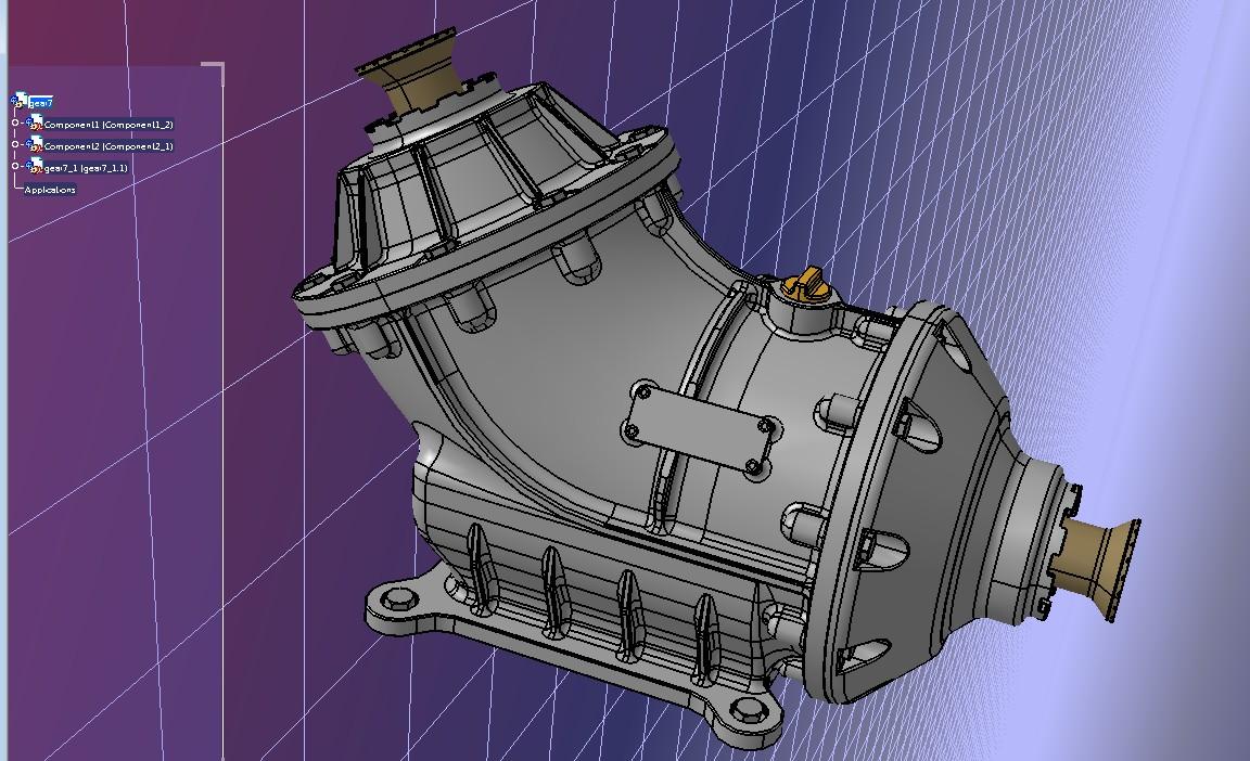 45度锥齿轮箱3D数模图纸 STEP格式