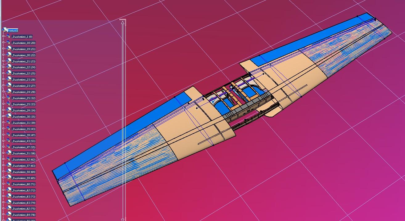 falco f8机翼结构模型3D图纸 STP格式