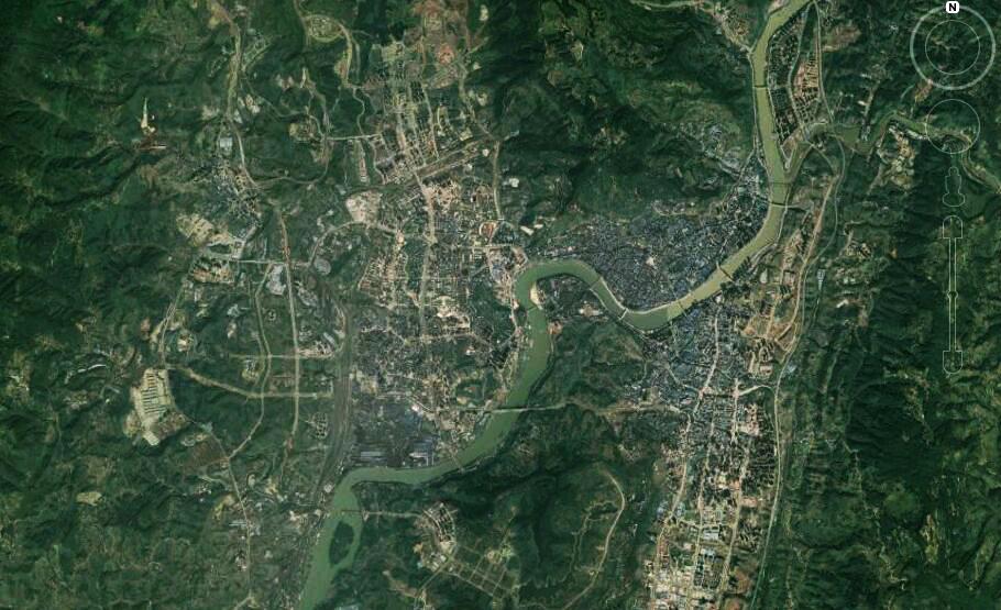 卫星上看四川达州:川东交通枢纽之城,铁路、机场一应俱全