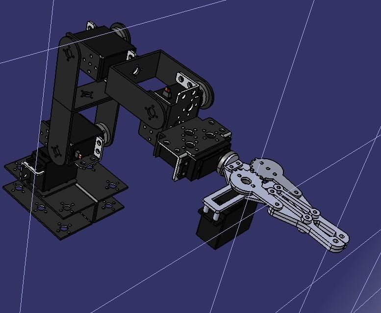 简易多自由度带二爪夹持机构机械臂3D图纸 STEP格式