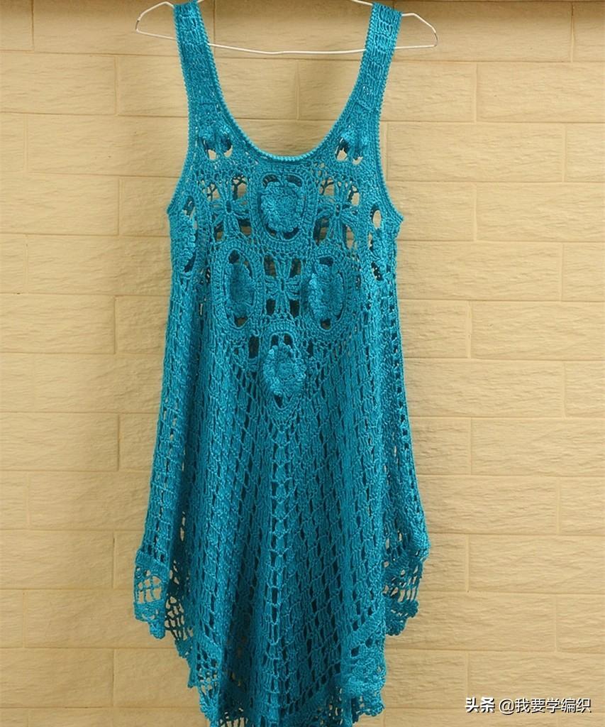 夏日钩针罩裙系列,波西米亚风渔网裙教程,穿出属于你的迷人风采