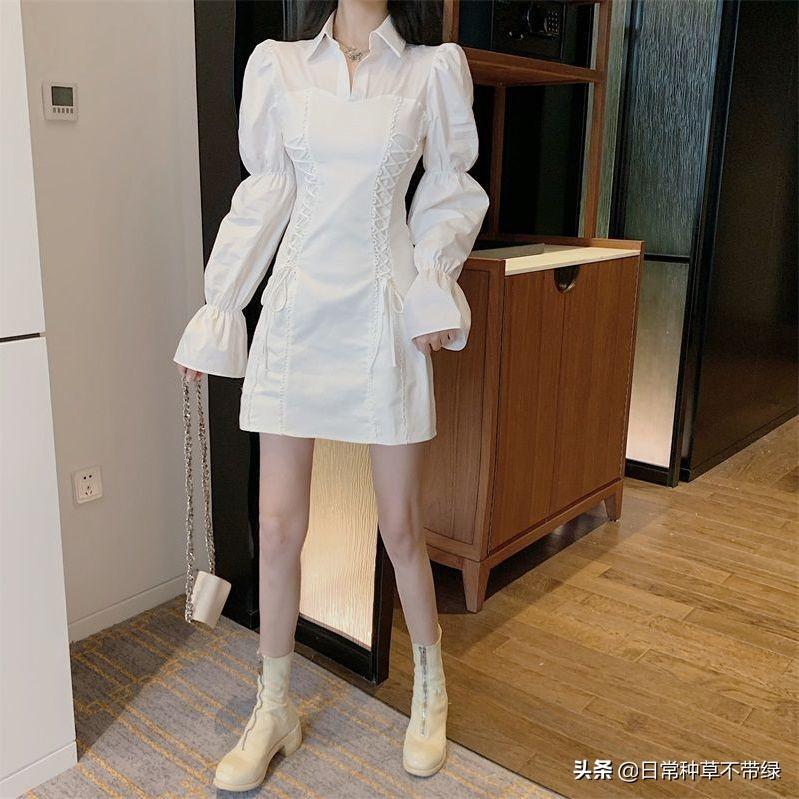秋季新款长袖连衣裙女设计感小众气质A字收腰显瘦网红法式裙子