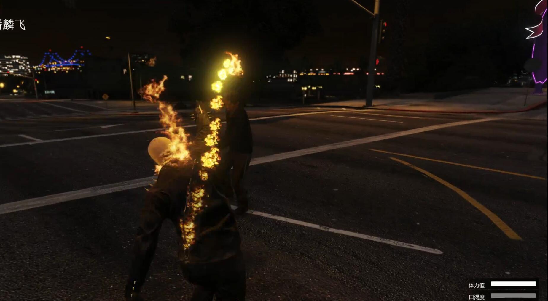 《GTA5》游戏里以恶灵骑士辅助mod实现各种带火焰的效果