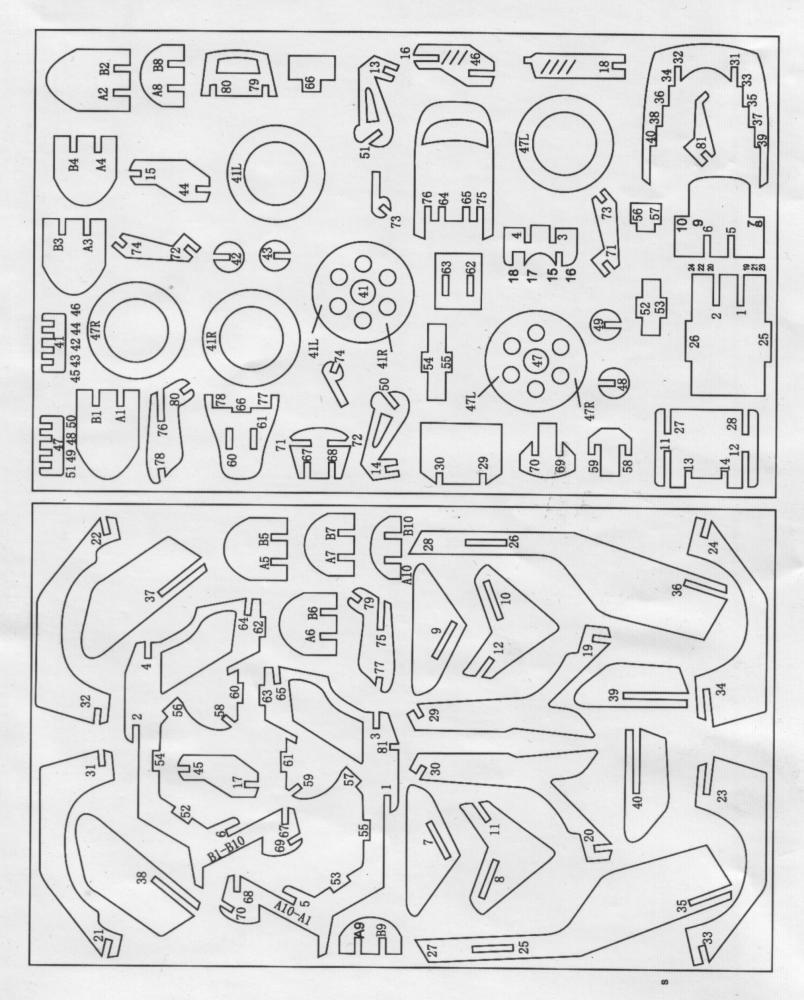 3MM Motoneta电动摩托车踏板车拼装模型激光切割图纸 dwg dxf cdr