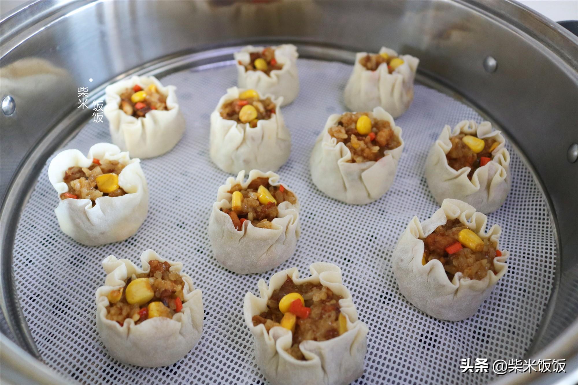 孩子点名要吃的烧麦,做法比饺子简单,一锅蒸33个,凉了也好吃 美食做法 第14张