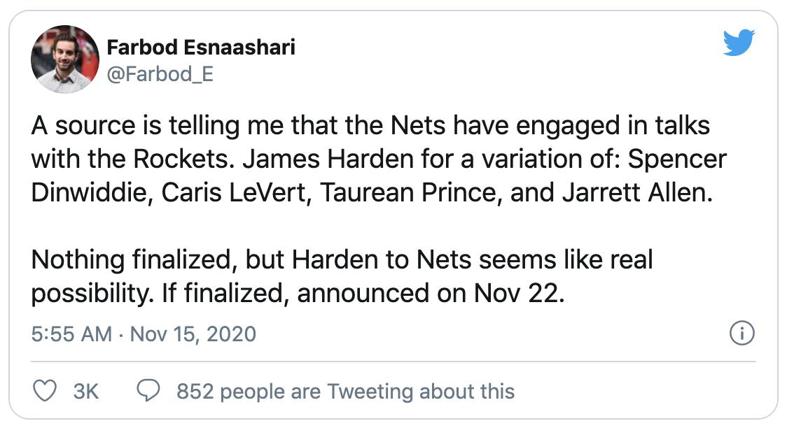 記者曝哈登有望搭檔杜厄,這個流言震驚全聯盟,美媒:但推動交易還需一前提!-籃球網