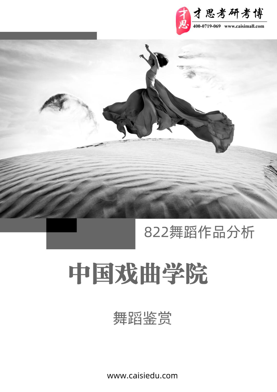 中国戏曲学院舞蹈表演822舞蹈作品分析考研考试科目解读、参考书
