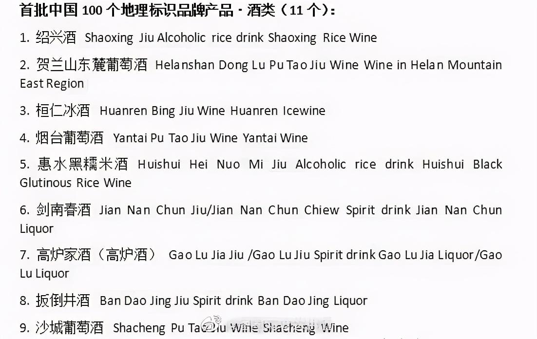 中国哪11个酒产地被纳入《地理标志保护协议》