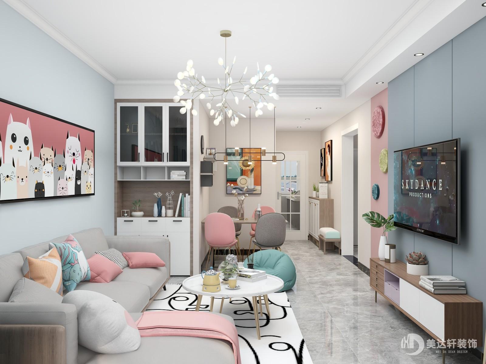 90㎡年轻人的两居设计!粉蓝重新定义生活的可爱