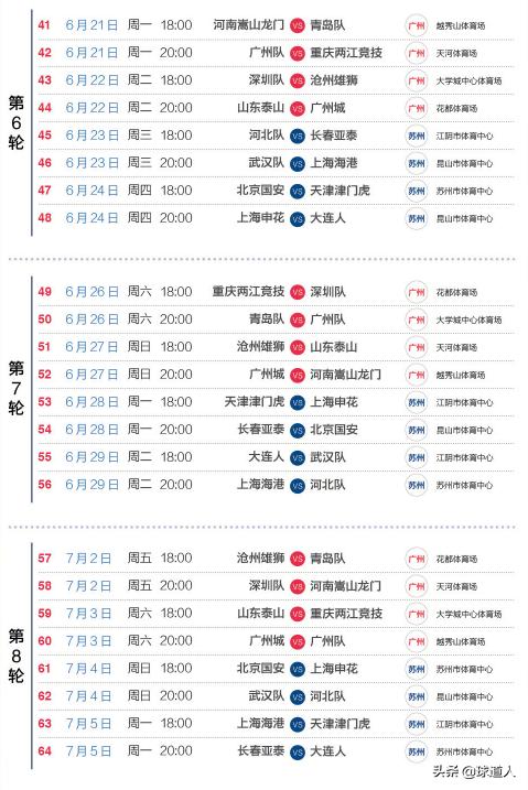 中超前14轮详细赛程出炉 广州德比作为揭幕 5轮后为国足让路