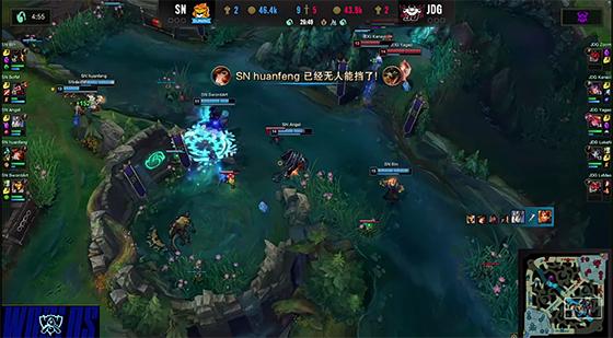 S10:小将huanfeng发挥亮眼,SN战胜JDG挺进四强