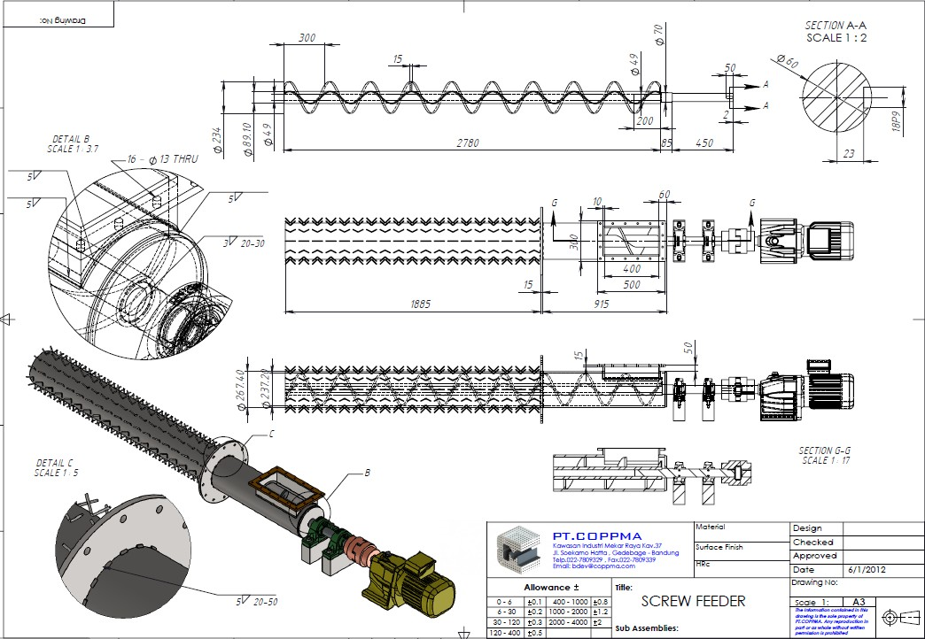 Screw Conveyor螺旋输送机3D图纸 STEP格式 附工程图