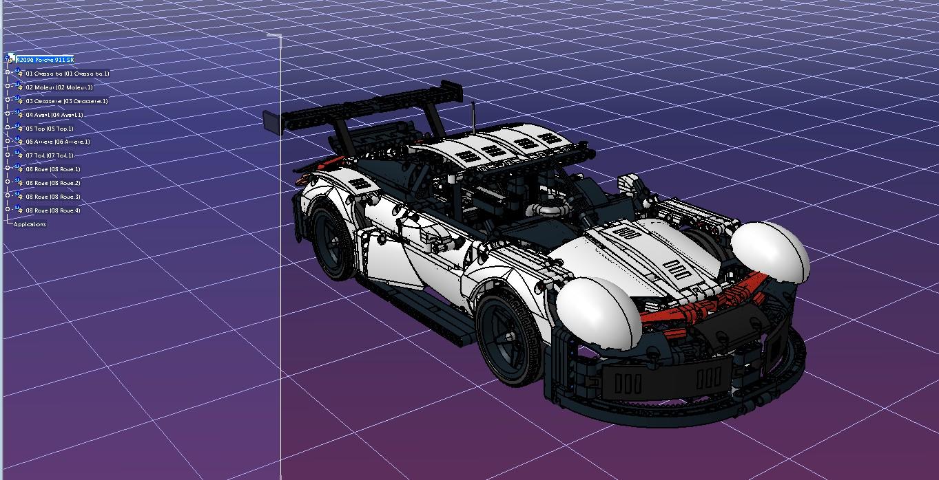 42096 porche 911玩具跑车立体拼装模型3D图纸 STP格式